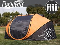 Flashtents® Camping tent 4 persons, Large, Orange/Dark Grey